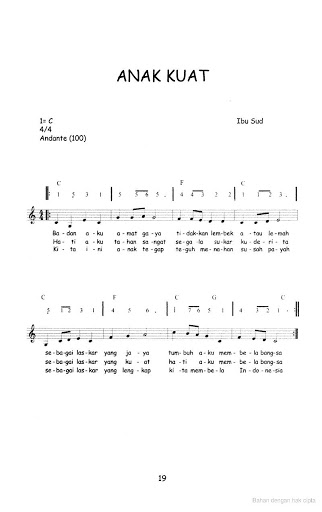 Not Angka Lagu Anak-anak - Anak Kuat