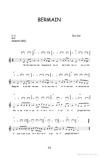 Not Angka Lagu Anak-anak - Bermain