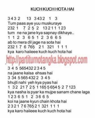 notasi lagu India  Kuch kuch hota hai